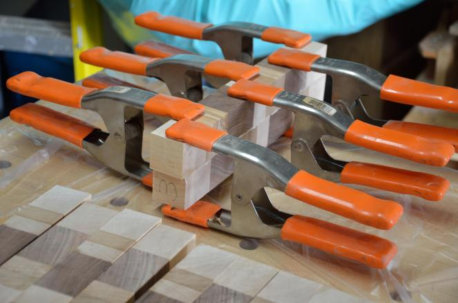 """I didn't like the design as this board was sliced ... so I offset every other piece by 3/8"""" to make a better pattern."""