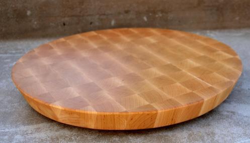 "# 77 Cutting Board, $150. Hard Maple, End grain. 16"" diameter, 20 degree cant to the edge."