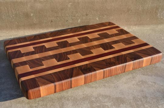 "# 71 Cutting Board, $125. 17-1/2"" x 12-1/4"" x 1-5/8"". End Grain. Walnut, Hard Maple & Padauk."