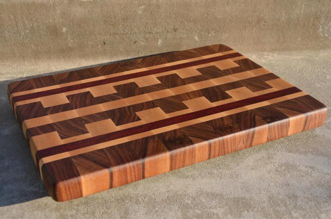 "# 71 Cutting Board, $125. 17-1/2"" x 12-1/4"" x 1-5/8"". End Grain. Walnut, Hard Maple & Padauk."