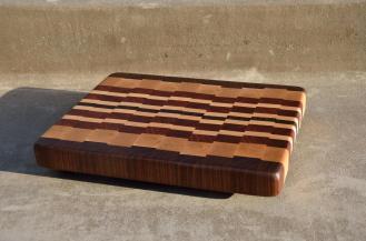 """# 54 Cutting Board, $85. 13-1/4"""" x 11"""" x 1-3/8"""". End Grain. Walnut, Hard Maple & Jatoba."""