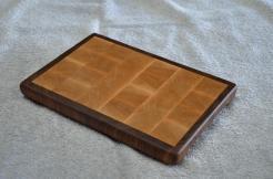"# 29 Cutting Board, $40. Hard Maple and Black Walnut end grain board. 7"" x 10-1/2"" x 1""."