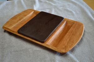 Cherry server, Black Walnut end grain cutting board insert.