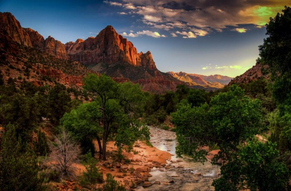 """Sunset at Zion National Park, with some """"enhancements,"""" I would suggest. Tweeted by the US Department of the Interior, 9/22/14."""