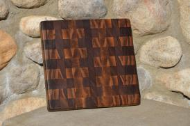 """# 27 Cutting Board, $50. Black walnut, end grain. 11-1/2"""" x 11-1/2"""" x 1""""."""