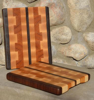 "# 28 Cutting Board, $50. Black Walnut, Hard Maple & Cherry. 11"" x 8"" x 1""."
