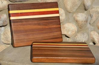 "The candy corn boards. Black Walnut, Yellowheart, Padauk and Hard Maple. 11"" x 8"" x 1""."