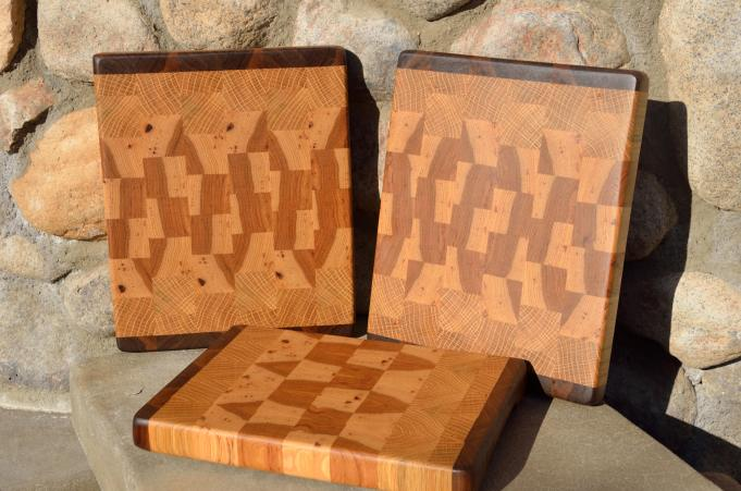 """Black Walnut, White Oak and Hickory end grain. Two are 11"""" x 9"""" x 1-1/8"""". The third board is 10"""" x 8"""" x 1-1/8""""."""