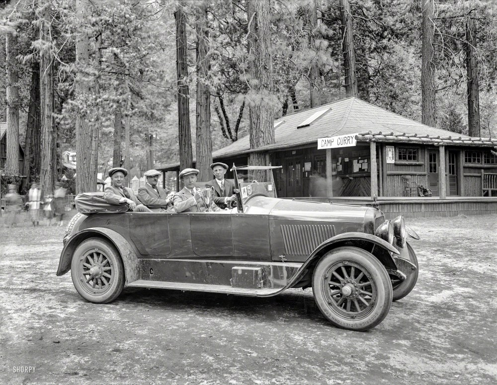 """May 1920. Yosemite National Park. """"Prize Cup, Fourth Annual AAA Economy Run, Los Angeles to Camp Curry."""" An early test of fuel efficiency sponsored by Standard Oil of California. Originally from the Wyland Stanley collection of San Francisciana, acquired and scanned by Shorpy Historical Photos."""
