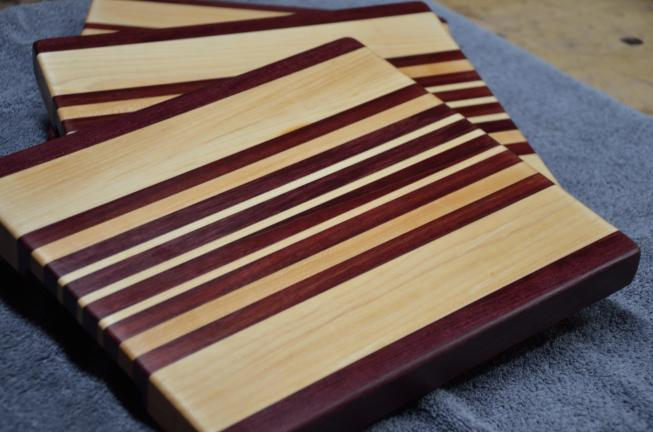 "A set of Hard Maple & Purpleheart edge grain boards. 9"" x 11"" x 1-1/8"". Already sold."
