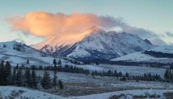 A flash of sun on Electric Peak marks the end of another day in Yellowstone National Park. Tweeted by the US Department of the Interior, 11/25/14.