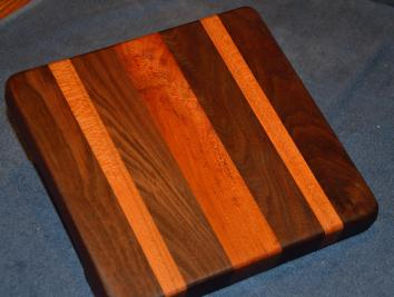 "Cheese Board # 15 - 004. Black Walnut and Cherry. 8"" x 10"" x 1-1/2""."
