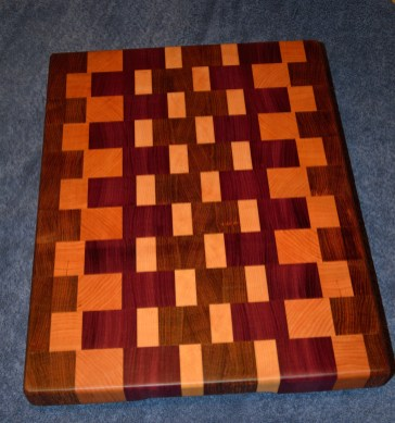 "Jatoba, Cherry, Hard Maple and Purpleheart end grain cutting board. 12"" x 18"" x 1-1/2""."