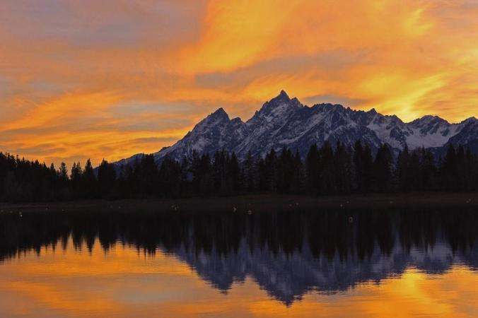 Wyoming's Grand Teton National Park at sunset. Photo by Christina Adele Warburg. Tweeted by the US Department of the Interior, 3/4/15.