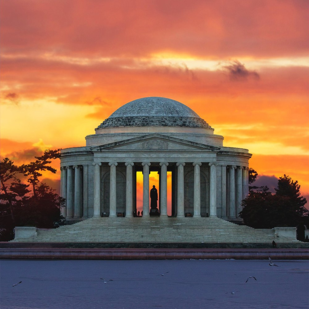 The sky is ablaze with color at the Jefferson Memorial — which is part of the National Mall and Memorial Parks in Washington, D.C. Photo courtesy of Drew Geraci. Posted on Tumblr by the US Department of the Interior, 3/27/15.