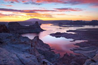 Stretching for hundreds of miles from Arizona to Utah, Glen Canyon National Recreation Area encompasses scenic vistas, geologic wonders and a vast panorama of human history. With 1.2 million acres of golden cliffs, lush hanging gardens, impossibly narrow slot canyons and the brilliant blue waters of Lake Powell, it's definitely worth the visit. Katherine Hawkins captured this beautiful pic of Lake Powell from Alstom Point at sunrise. Posted on Tumblr by the US Department of the Interior, 3/10/15.