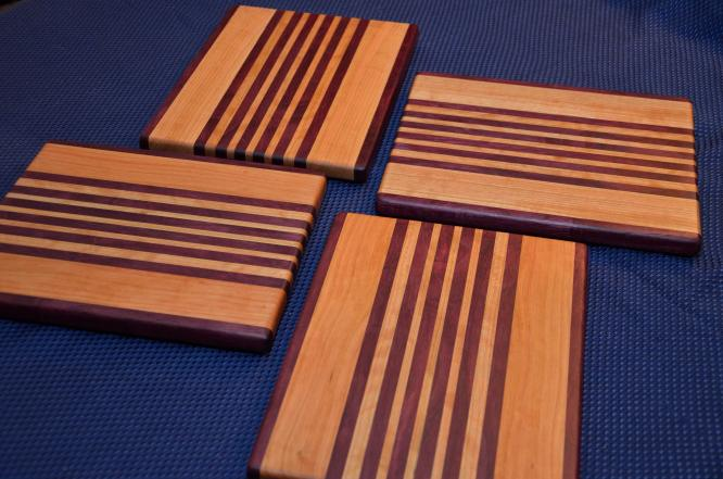 """Cheese Board # 15 - 017. Purpleheart & Cherry Edge Grain. 10"""" x 11"""" x 3/4"""" Edge Grain."""