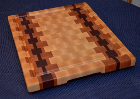 """Cutting Board # 15 - 037. Hard Maple, Cherry and Jarrah End Grain. Juice Groove with resevoir ends. 16"""" x 20"""" x 1-1/2""""."""