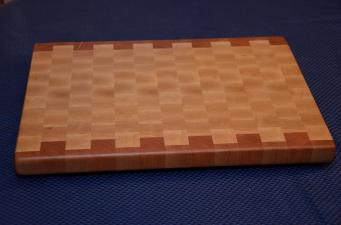 "Cutting Board # 15 - 040. Cherry and Hard Maple End Grain. 12"" x 16"" x 1-1/4""."