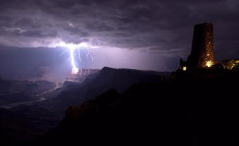 Lightning strikes the south rim of the Grand Canyon. Picture by Travis Roe. Tweeted by the US Department of the Interior, 5/28/15.