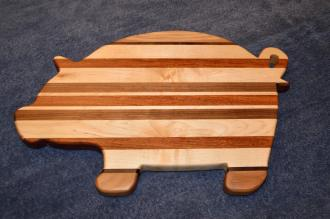 "Pig 15 - 02. Hickory, Walnut, Hard Maple and Jatoba. 12"" x 19"" x 1""."