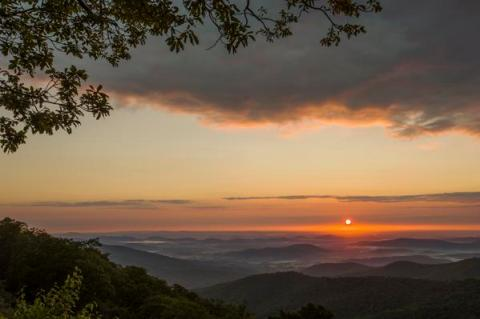 Hazel Mountain Overlook in the Shenandoah National Park is an amazing place to watch a sunrise in Virginia . Tweeted by the US Department of the Interior, 4/8/15.