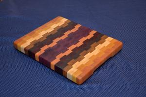 Small Board # 15 - 035. Cherry, Yellowheart, Hard Maple, Jatoba, Purpleheart, Padauk and Honey Locust End Grain. 13
