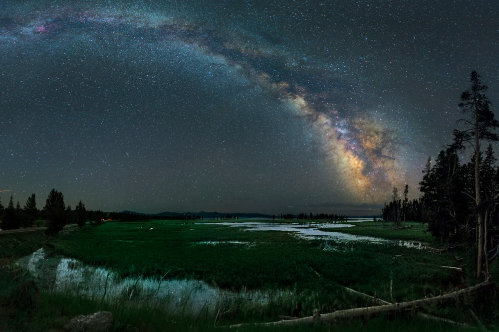 The Milky Way glitters above Yellowstone National Park. David Lane created this stunning multi-image panorama of the night sky over the park's Pelican Creek – a place that offers great views of Yellowstone Lake. Photo courtesy of David Lane. Posted on Tumblr by the US Department of the Interior, 5/8/15.