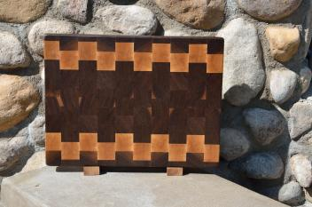 "Cutting Board 15 - 045. Black Walnut and Hard Maple end grain. 12"" x 16"" x 1-1/2"". Commissioned piece, one of a set of three."