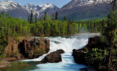 Lake Clark National Park in Alaska. This photo of Tanalian Falls with the snow-capped mountains in the background was taken in May 2015. Photo courtesy of Tom Tessier. Posted on Tumblr by the US Department of the Interior, 6/7/15.