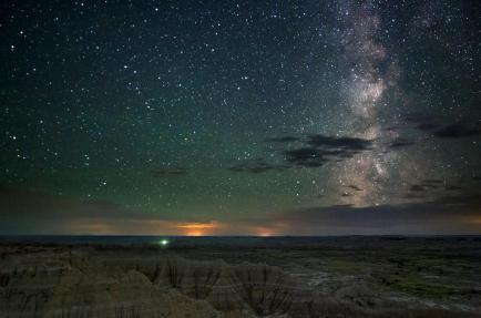 The Milky Way over Badlands National Park. Photo by Kevin Palmer. Tweeted by the US Department of the Interior, 8/13/15.