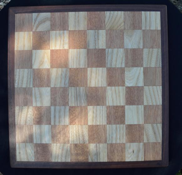 Chess Board # 03. Mahogany & White Oak squares with a Walnut border.