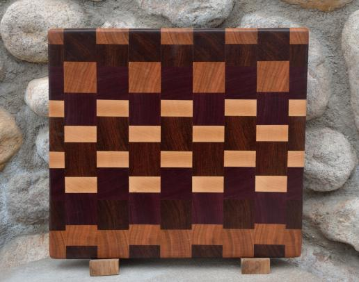 "Cutting Board # 15 - 056. Cherry, Jatoba, Purplehear and Hard Maple end grain. 14"" x 12"" x 1-1/2""."