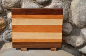 "Cutting Board # 15 - 058. Black Walnut, Cherry & Hard Maple edge grain. 14"" x 11"" x 1-1/4""."