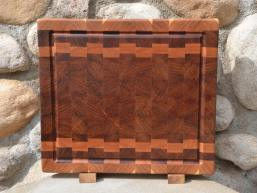 """Cutting Board 15 - 060. Cherry and Jatoba, AKA Brazilian Cherry, end grain with juice groove. Commissioned piece. 14"""" x 16"""" x 1-1/2""""."""