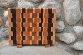 "Small Board # 15 - 038. Cherry, Black Walnut & Hard Maple end grain. 10"" x 12"" x 1-1/4""."