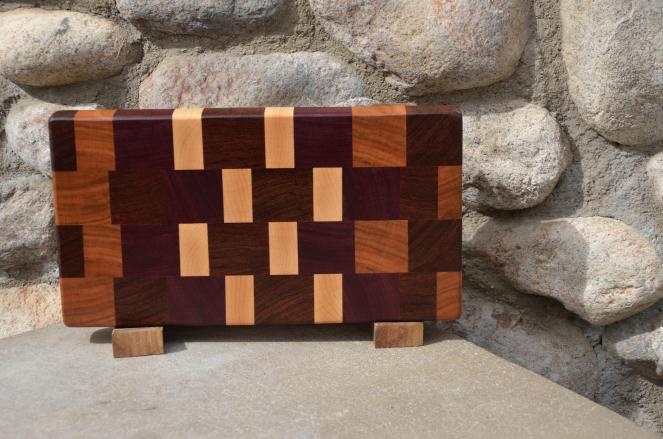 "Small Board # 15 - 041. Black Walnut, Cherry, Purpleheart & Hard Maple end grain. 7"" x 12"" x 1-1/4""."