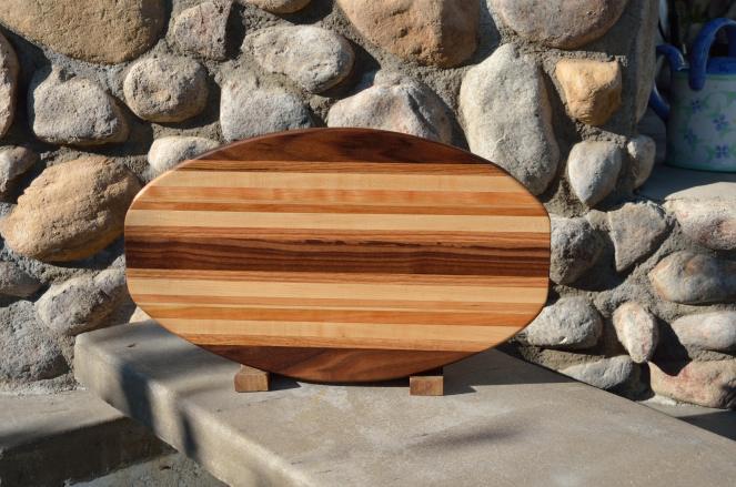 Surfboard 15 - 16. Black Walnut, Red Oak, Hard Maple & Cherry.