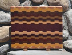 "Cutting Board 15 - 047. Cherry, Yellowheart, Jatoba, Padauk, Teak, Bloodwood, Hard Maple & Purpleheart. End Grain. 14"" x 18"" x 1-1/2"". This board was sold the first time a customer saw it ... in the shop, and still rough!"