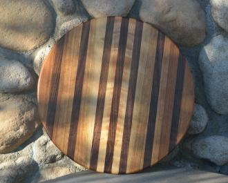 """Lazy Susan 15 - 011. Cherry & Black Walnut. That's curly cherry sapwood in the center; when you spin this lazy susan, it goes psychedelic! 17"""" diameter."""