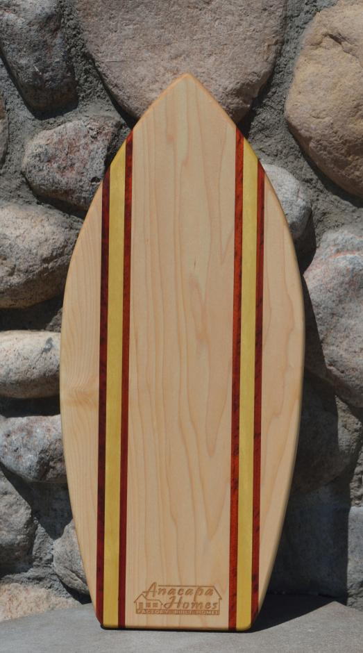 Medium Surfboard for Anacapa Homes, # 1. Hard Maple, Padauk & Yellowheart.