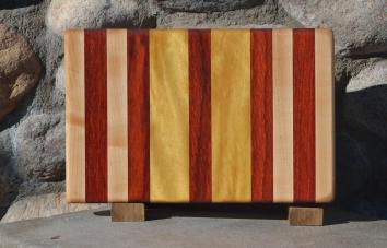 "Small Board # 15 - 044. Hard Maple, Padauk & Yellowheart. Edge Grain. 7-3/4"" x 12"" x 1-1/4""."