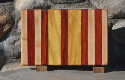 """Small Board # 15 - 044. Hard Maple, Padauk & Yellowheart. Edge Grain. 7-3/4"""" x 12"""" x 1-1/4""""."""