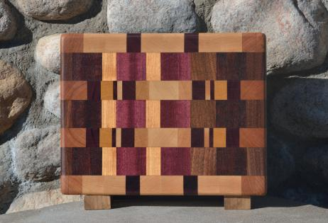 "Small Board # 15 - 046. Hard Maple, Cherry, Purpleheart, Yellowheart, Jatoba & Honey Locust. Edge Grain. 9"" x 11-1/2"" x 1-1/2""."