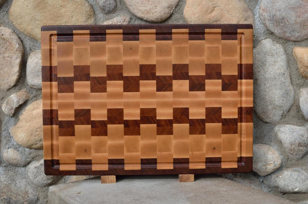 "Cutting Board # 15 - 075. Jatoba & Hard Maple. End Grain, Juice Groove. 16"" x 20"" x 1-1/2""."