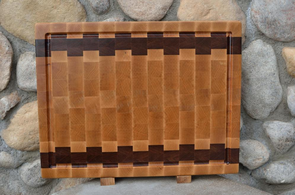 "Cutting Board # 15 - 076. Hard Maple & Jatoba. End Grain, Juice Groove. 16"" x 20"" x 1-1/2""."