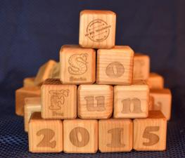 "37 Building Blocks. Hard Maple. 1-3/4"" x 1-3/4"" x 1-3/4""."