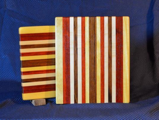 "Cheese Board # 15 - 050. Yellowheart, Padauk, Hard Maple, Black Walnut & Jatoba. 9"" x 11"" x 7/8""."