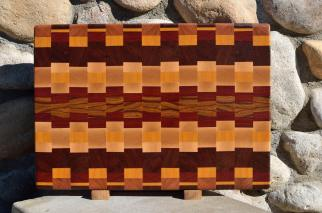 "Cutting Board # 15 - 084. Jatoba, Cherry, Yellowheart, Jatoba, Hard Maple, Bloodwood & Canarywood. 16"" x 20"" x 1-1/4""."