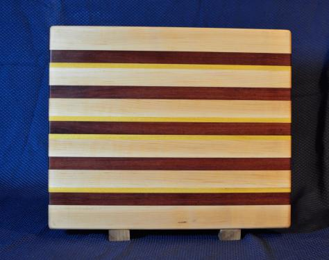"Cutting Board # 15 - 105. Hard Maple, Purpleheart & Yellowheart. Edge Grain. 15"" x 18"" x 1-1/4""."